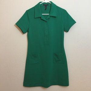 Banana Republic-Green Stretch Knit Polo Mini Dress